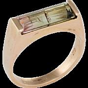 Watermelon Tourmaline Bar Stacking Ring Vintage 14 Karat Yellow Gold Estate Jewelry