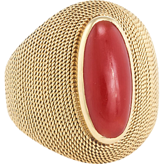 60s Mediterranean Red Coral Cocktail Ring Vintage 18k Yellow Gold Estate Jewelry