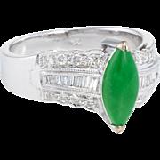 Jadeite Jade Diamond Cocktail Ring Estate 18 Karat White Gold Fine Vintage Jewelry