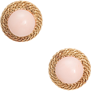 Angel Skin Coral Round Earrings Vintage 18 Karat Yellow Gold Estate Fine Jewelry