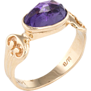 Amethyst Stacking Ring Vintage 14 Karat Yellow Gold Estate Fine Jewelry Pre Owned 6.5