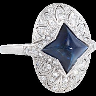 Vintage Art Deco No Heat Star Sugarloaf Natural Sapphire Diamond Platinum Ring Estate Jewelry