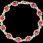 Beetle Bracelet Estate 14 Karat Yellow Gold Black Red Enamel Vintage Fine Jewelry
