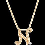Diamond Letter N Initial Pendant Necklace Vintage 18 Karat Gold Estate Fine Jewelry