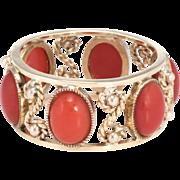 Mediterranean Red Coral Eternity Ring Sz 6 Vintage 14 Karat Yellow Gold Estate Fine