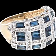 Sapphire Diamond Ring Vintage Square Quilt Pattern 18 Karat Yellow Gold Wide Band