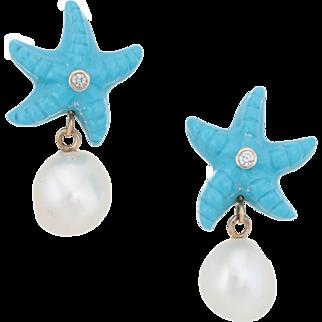 Starfish Turquoise Diamond Baroque Pearl Drop Earrings Vintage 14 Karat Gold Estate