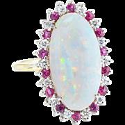 Opal Ruby Diamond Oval Cocktail Ring Vintage 14 Karat Yellow Gold Estate Jewelry