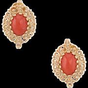 Mediterranean Red Coral Earrings Vintage 14 Karat Yellow Gold Estate Jewelry Fine