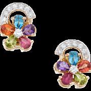 Rainbow Gemstone Diamond Flower Earrings Vintage 18 Karat Yellow Gold Estate Jewelry