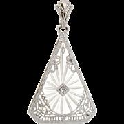 Vintage Art Deco Rock Crystal Diamond Filigree Pendant 14k White Gold Estate