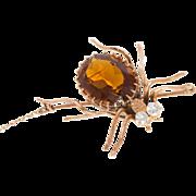Vintage Art Deco Spider Brooch Pin Estate 10 Karat Rose Gold Diamond Citrine Estate