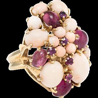 Pink Tourmaline Angel Skin Coral Flower Cocktail Ring Vintage 14 Karat Gold Estate