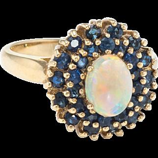 Opal Sapphire Princess Cocktail Ring Vintage 10 Karat Yellow Gold Estate Fine Jewelry