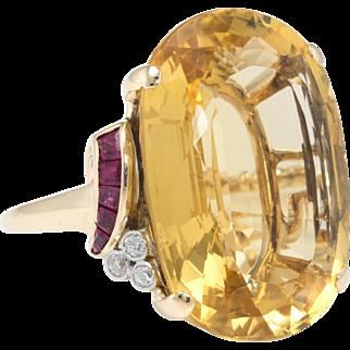 Retro Citrine Ruby Diamond Cocktail Ring Vintage 14 Karat Yellow Gold Estate Jewelry