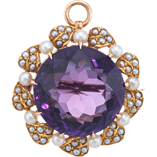 Vintage Art Deco Amethyst Seed Pearl Pendant Brooch 14k Yellow Gold Estate Jewelry