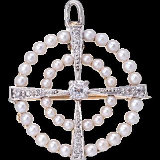 Vintage Art Deco Diamond Cultured Pearl Circle Pendant Brooch Estate Fine Jewelry