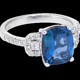GIA No Heat Natural Sapphire Diamond Ring Estate 18 karat White Gold Vintage Jewelry