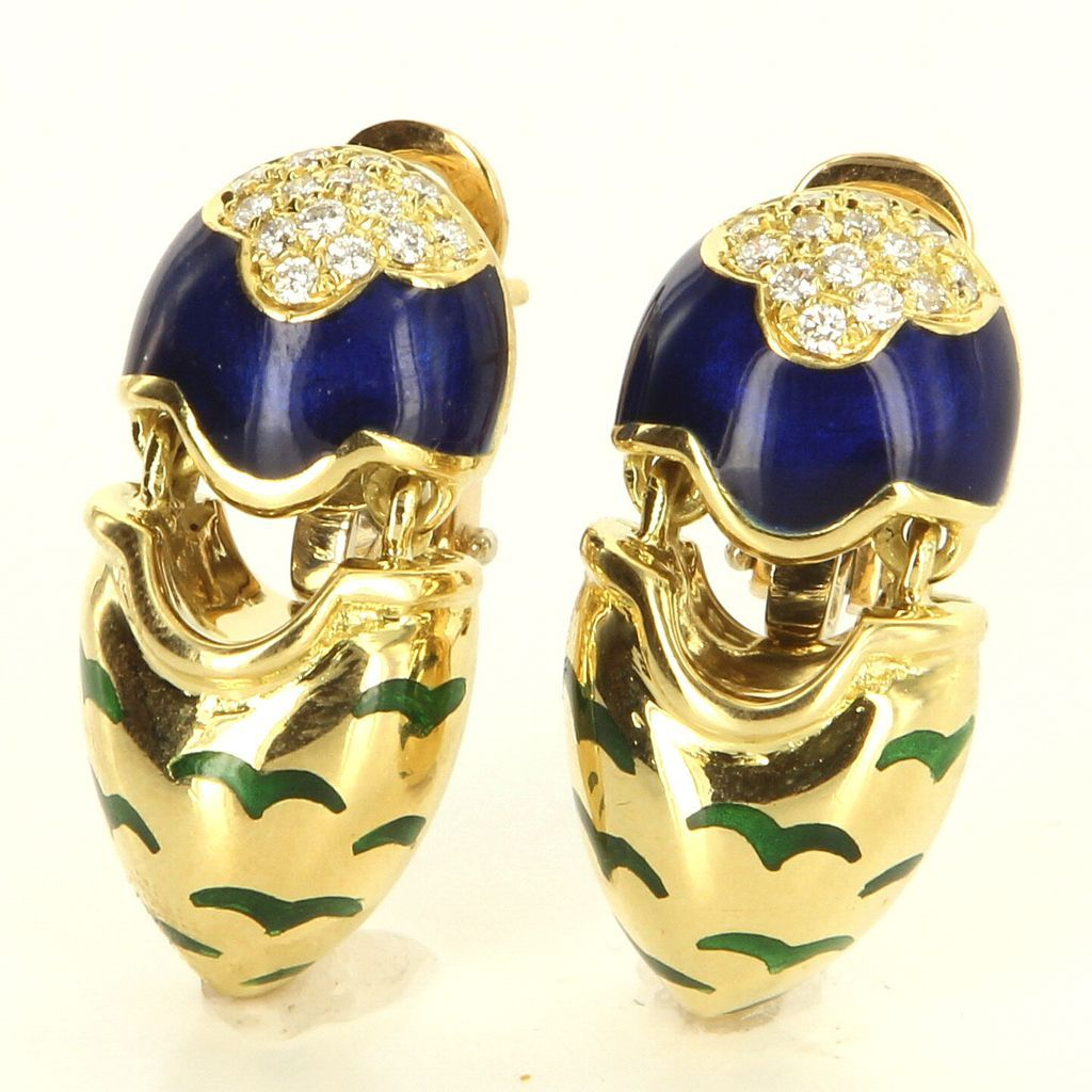 Estate 18 Karat Yellow Gold Diamond Enamel Drop Earrings Fine Jewelry Pre-Owned