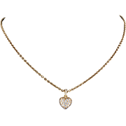 Cartier Pave Diamond Heart Pendant Necklace Vintage 18 Yellow Karat Gold Estate Fine Jewelry