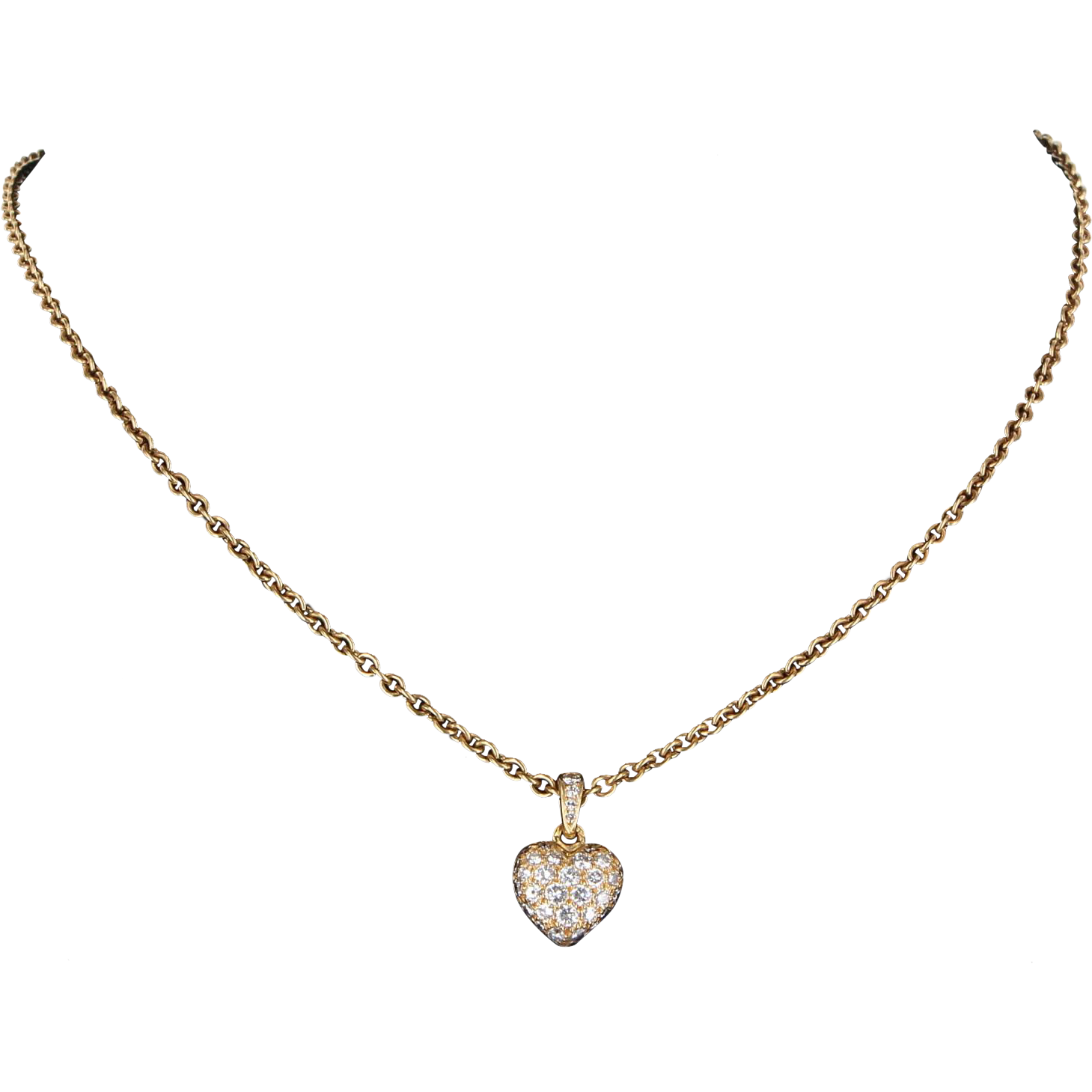 Cartier Pave Diamond Heart Pendant Necklace Vintage 18 Yellow Karat Gold Estate Fine Jewelry