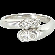 Bulgari Diamond Bypass Ring Estate 18 Karat White Gold Designer Pre Owned Jewelry