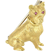Tiffany & Co Dog Brooch Vintage 18 Karat Yellow Gold Ruby Animal Jewelry Estate