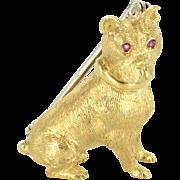 Tiffany & Co Dog Brooch Vintage 18 Karat Yellow Gold Ruby Animal Jewelry Estate