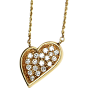 Vintage 14 Karat Yellow Gold Diamond Heart Pendant Necklace Fine Estate Jewelry