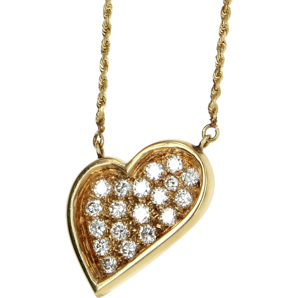 Vintage 14 karat yellow gold diamond heart pendant for Fine jewelry diamond pendants