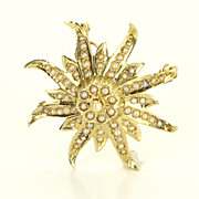 Vintage 14 Karat Yellow Gold Seed Pearl Starburst Cocktail Pendant Brooch Estate