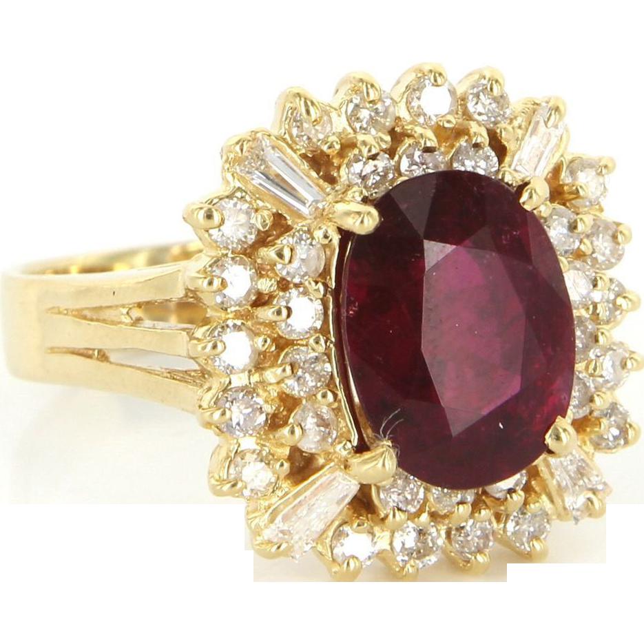 Vintage 18 Karat Yellow Gold Diamond Pink Tourmaline Square Princess Ring