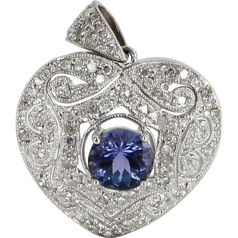 Tanzanite Diamond Heart Pendant Vintage 10 Karat White Gold Estate Fine Jewelry