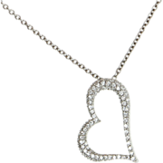 Estate 950 Platinum Pave Diamond Heart Pendant Necklace Fine Jewelry Pre-Owned