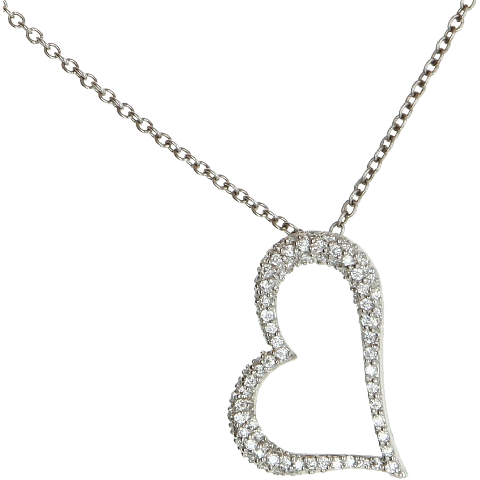 Estate 950 platinum pave diamond heart pendant necklace for Fine jewelry diamond pendants