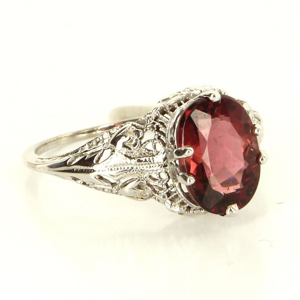 Vintage 10 Karat White Gold Pink Tourmaline Filigree Cocktail Ring Fine Jewelry