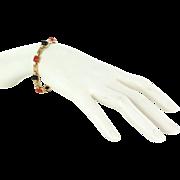 Cartier Onyx Coral Link Bracelet Vintage 18 Karat Yellow Gold Estate Fine Pre Owned