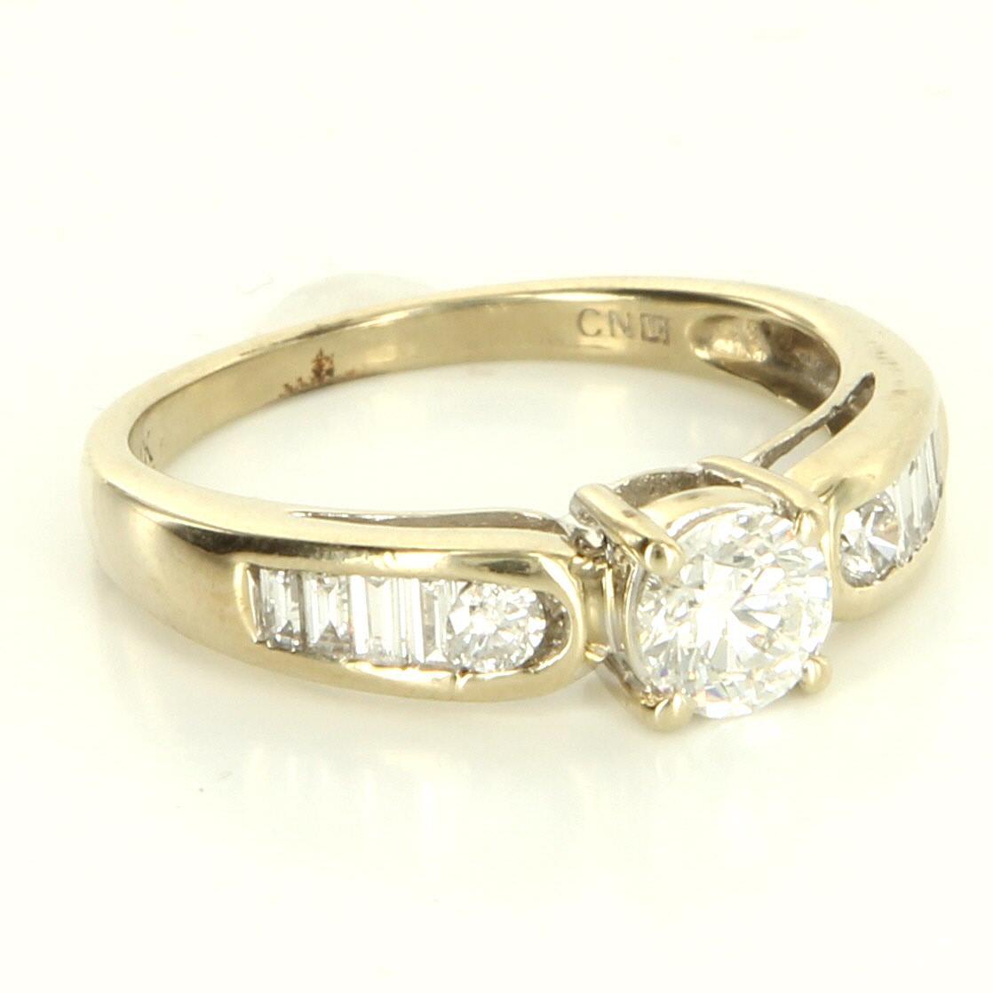 Vintage 14 Karat White Gold Diamond Engagement Ring Fine Bridal Jewelry Estate