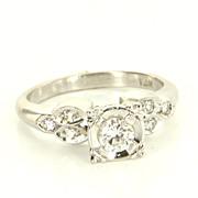 Vintage 14 Karat White Gold Diamond Engagement Ring Fine Estate Jewelry