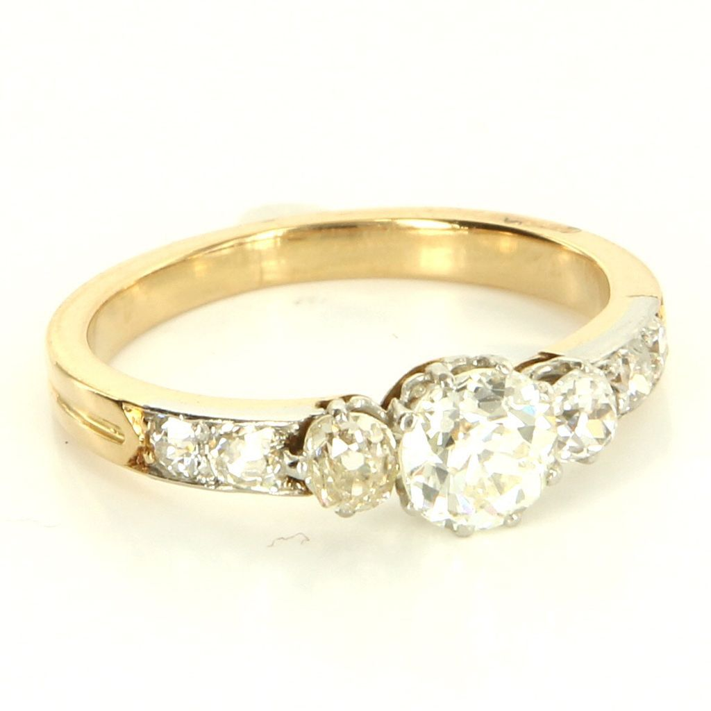Vintage  Art Deco 18 Karat Yellow Gold Platinum Diamond Engagement Ring