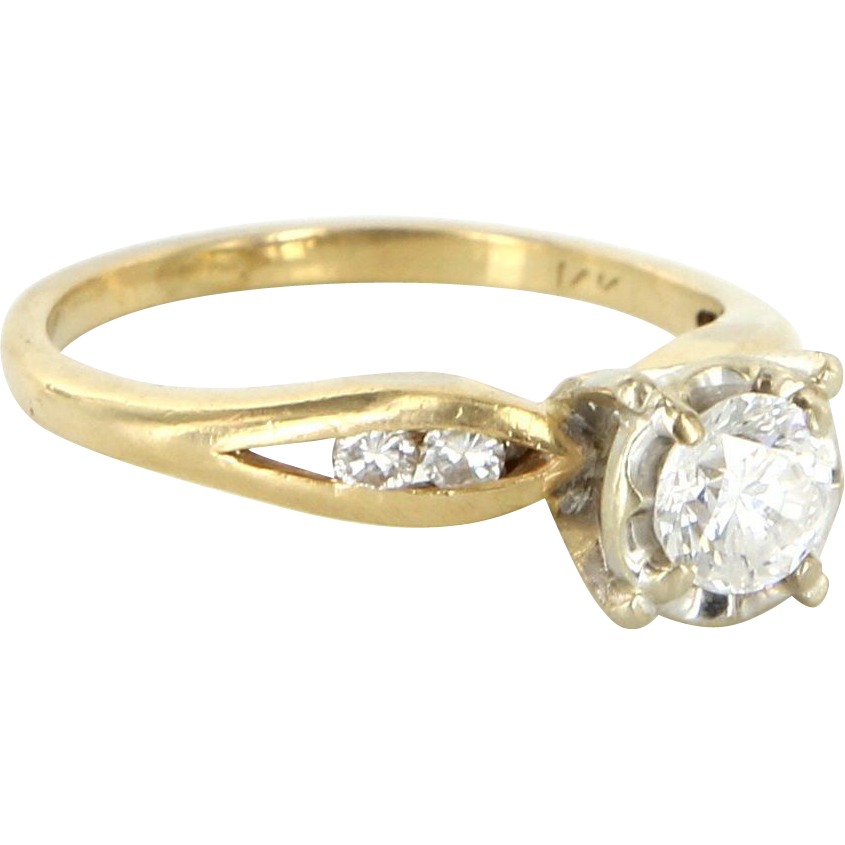 Vintage 14 Karat Yellow Gold Diamond Engagement Right Hand Ring Fine Jewelry