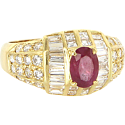 Natural Ruby Diamond Vintage Cocktail Ring 18 Karat Yellow Gold Fine Estate Jewelry