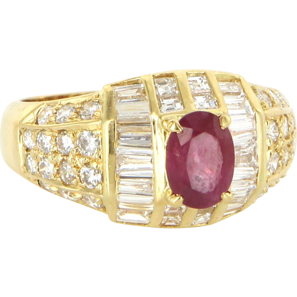Natural Ruby Diamond Vintage Cocktail Ring 18 Karat Yellow Gold Fine Estate Jewelry