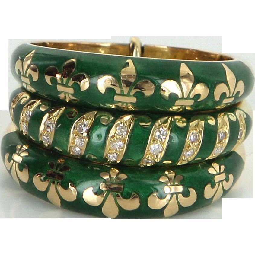 Fleur de Lis Vintage French Hallmarked 18 Karat Enamel Diamond 3 Band Ring Set Estate 6.5