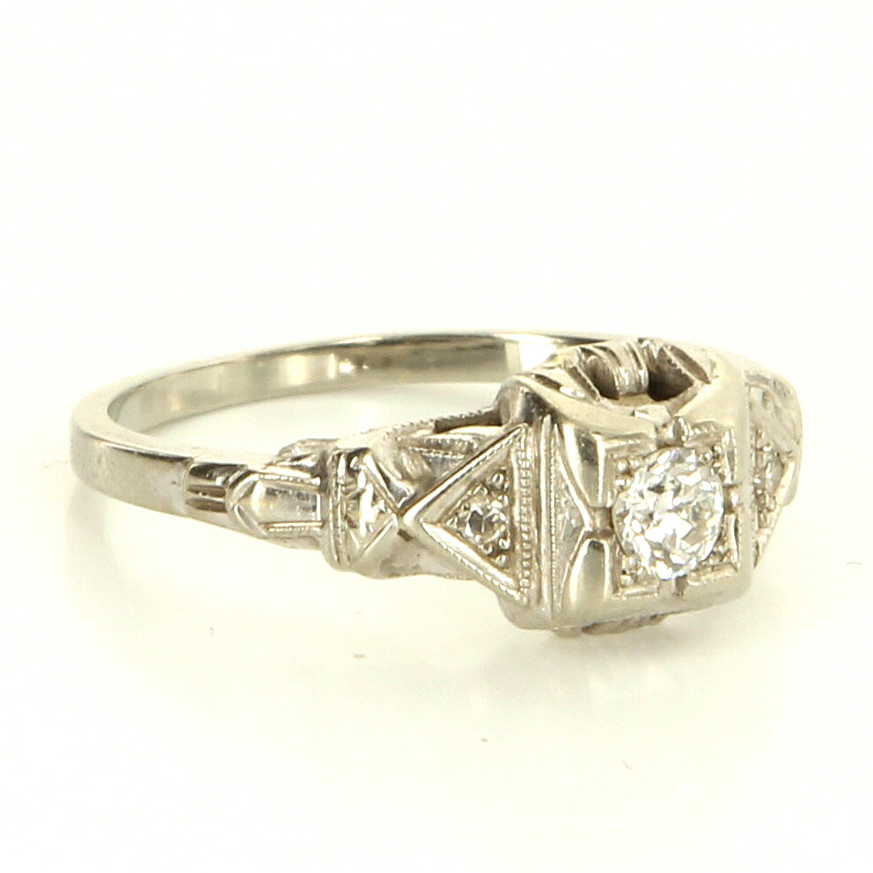 Art Deco 18 Karat White Gold Diamond Engagement Right Hand Ring Vintage