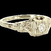 Vintage Art Deco Diamond Ring 18 Karat White Gold Estate Fine Jewelry Heirloom