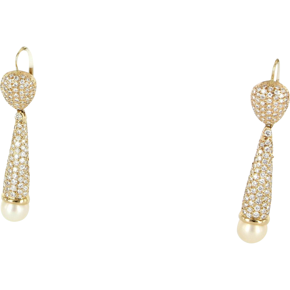 Vintage 14 Karat Yellow Gold Pave Diamond Cultured Pearl Drop Cocktail Earrings