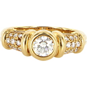 Vintage Bulgari Diamond 18 Karat Yellow Gold Band Ring Signed Fine Designer Jewelry