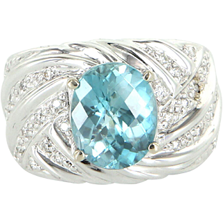 Vintage Swiss Blue Topaz Diamond 14 Karat White Gold Cigar Band Ring Estate Sz 7