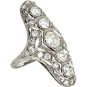 Vintage Art Deco 2.14ct Diamond Cocktail Ring 900 Platinum Vintage Fine Estate Jewelry